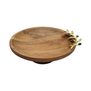 Wooden Round Dish With Olive Decoraction Medium 30Cm