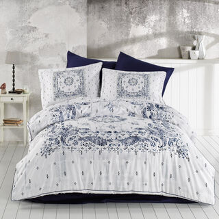 Cottage 3 Pieces Cotton Duvet Cover Dark Blue King 260X240 Cm