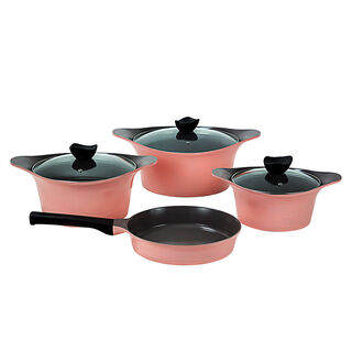 Alberto 7 Pieces Cookware Aluminum Set Pink