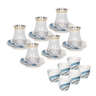 طقم شاي وقهوة بورسلان  18 قطعة