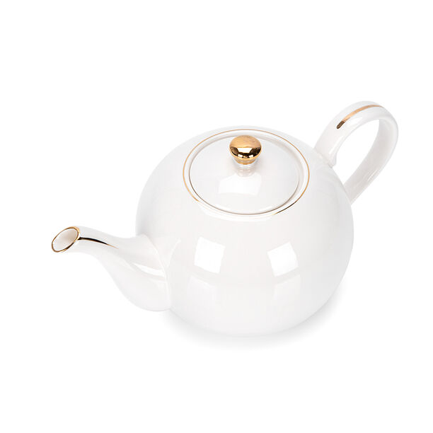 اببريق شاي انجليزي أبيض و ذهبي image number 1