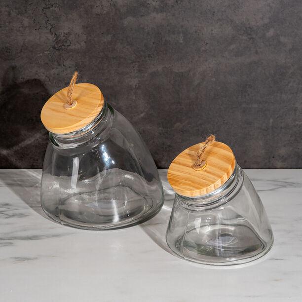 Alberto Leaning Glass Jar With Wooden Lid 1600Ml image number 3
