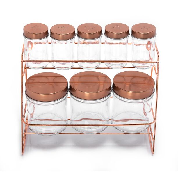 Alberto Glass Spice Jars Set 8 Pieces With Copper Lid & Stand image number 1