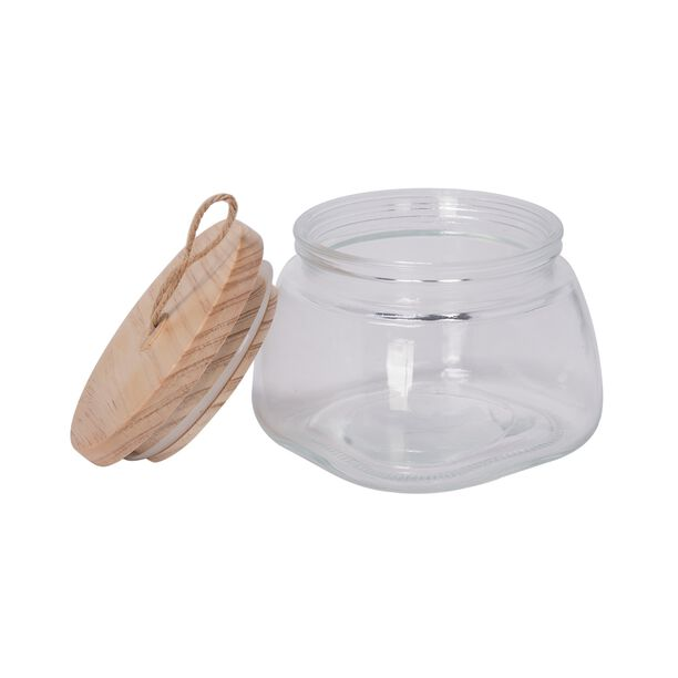 Alberto Glass Jar With Wooden Lid And Hemp Rope 1150Ml image number 1