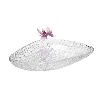 La Mesa Glass Plate With Violet Crystal Flower 37 Cm