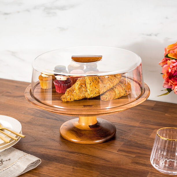 Billi Acacia Wood Cake Dome With Stand image number 0