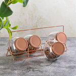 Alberto 4 Pieces Glass Spice Jars With Copper Clip Lid And Metal Stand image number 4