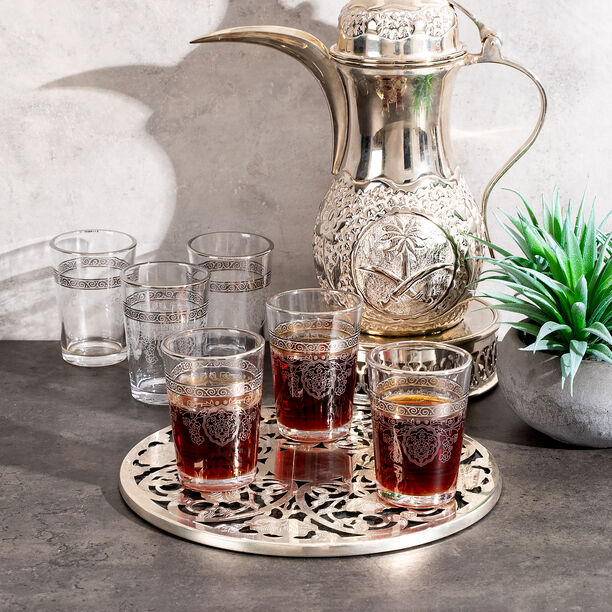 Moroccan Tea Glass Set Silver image number 2