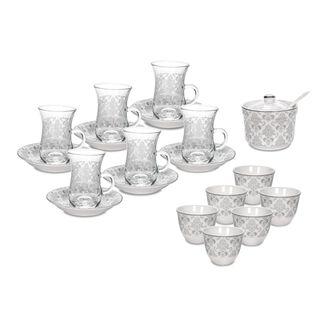 Porcleain Arabic Tea & Coffee Cup Set 20 Pieces Silver
