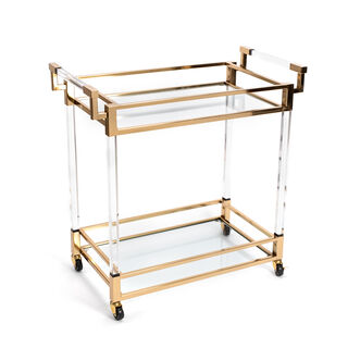 2 Tiers Acrylic Serving Trolley Gold