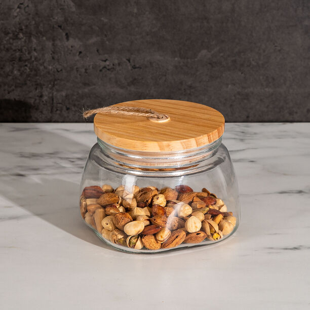 Alberto Glass Jar With Wooden Lid And Hemp Rope 1150Ml image number 2