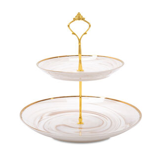 Honey Marble 2 Tier Cake Stand