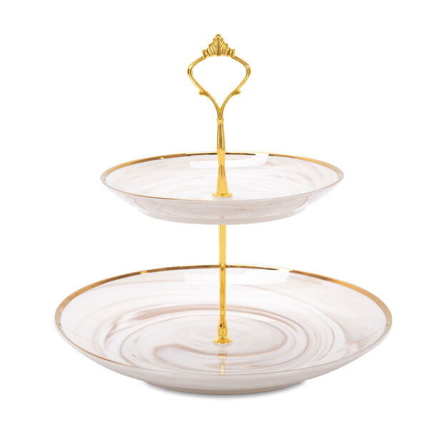 Honey Marble 2 Tier Cake Stand image number 0