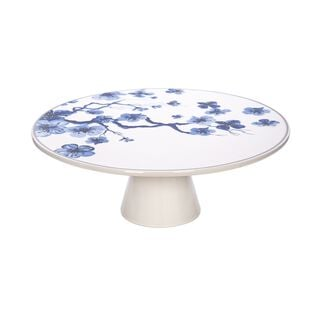 La Mesa Flwr Footed Cake Stand Blue