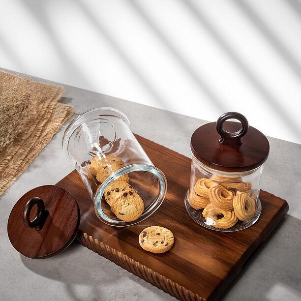 برطمان تخزين زجاجي بغطاء خشبي سعة 1900مل من البرتو  image number 0