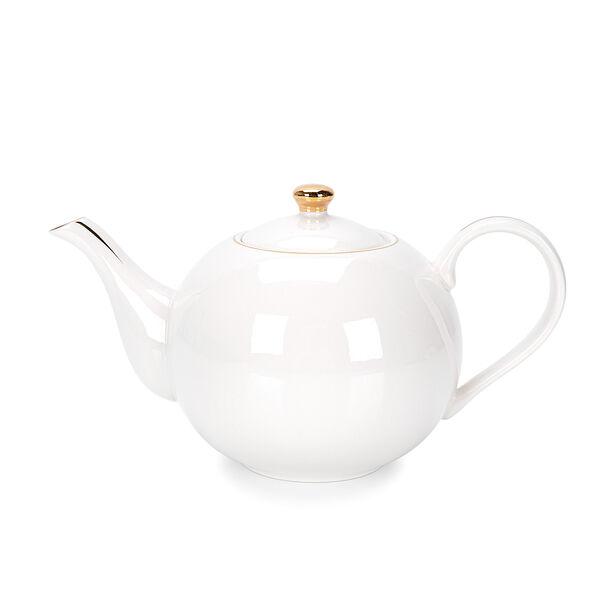 اببريق شاي انجليزي أبيض و ذهبي image number 0