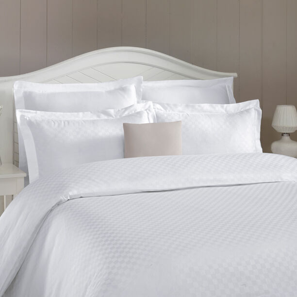Duvet Cover Set 3 Pieces Cotton King Size Embroidery White  image number 0