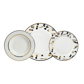 18 Pcs Porcelain DinnerSet Serve 6 Tashkeel Gold