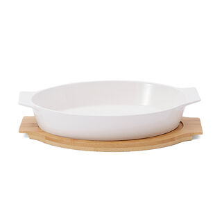 Oval Plate With Bamboo