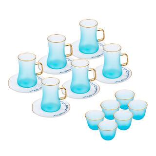 Lamesa Porcelain Tea And Coffee Set 18 Pieces Aqua White/Blue