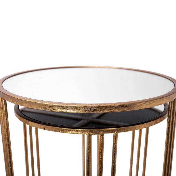Side Table Set Of 2 Gold With Mirror Top Big image number 3