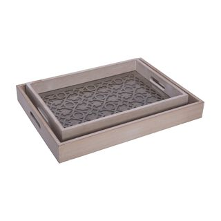 Wooden Tray 2 Pieces Set