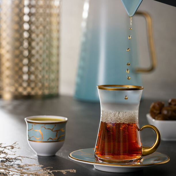 18Pcs Arabic Tea Set Dore Design image number 0