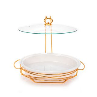 "15"" Oval Casserole With Candle Stand"
