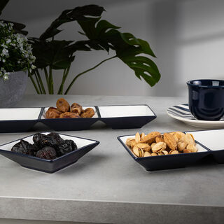 Rio Divided Section Plate Set 3 Pieces Blue Glaze