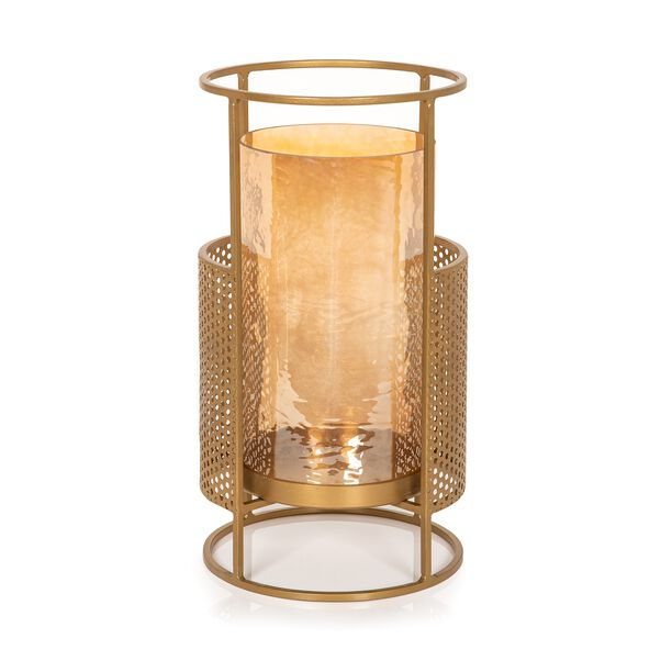 Metal And Glass Candle Holder Gold image number 0