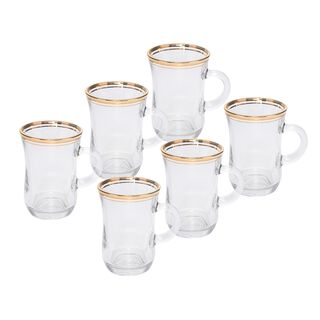 Tea Glass Set 6 Pieces Double Line Silver