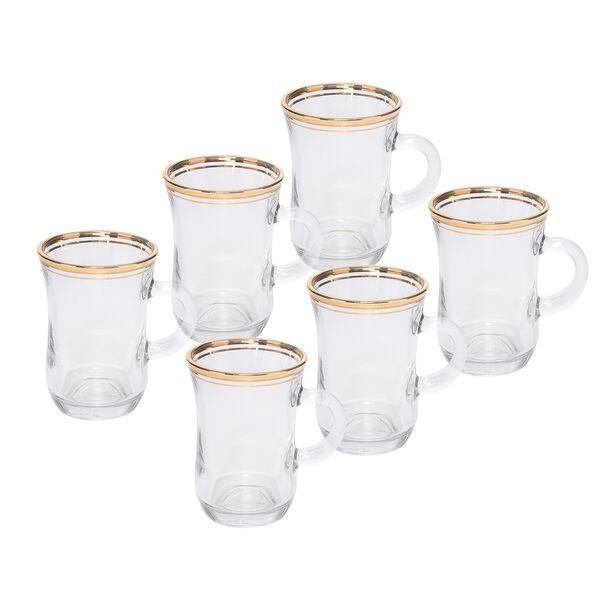 Tea Glass Set 6 Pieces Double Line Silver image number 0
