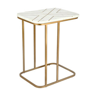 Sofa Side Table Gold And White Marble
