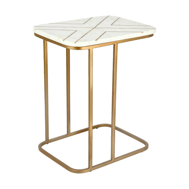 Sofa Side Table Gold And White Marble image number 0