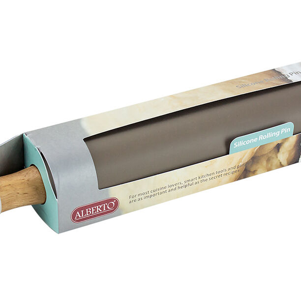 Silicone Rolling Pin With Wooden Hand image number 1