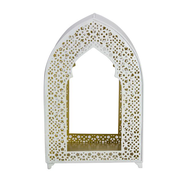 Metal Lantern Moroccan Coated Gold Inside White image number 1