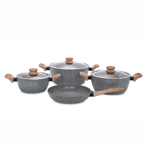 Alberto 7 Pieces Non Stick Forged Aluminum Cookware Set With Glass Lid Grey Color image number 0