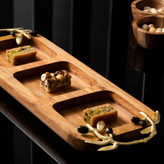 Wooden 3 Portion Dish With Olive Handle