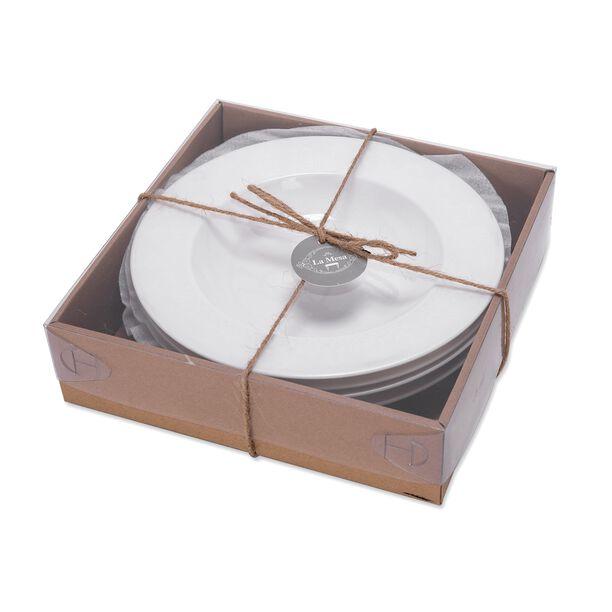 طقم أطباق تقديم شوربة بزخرفة عربية لون لؤلؤي 4 قطع من لاميسا  image number 1
