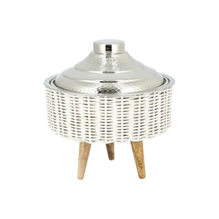 Small Bamboo Basket With Jar Nickel