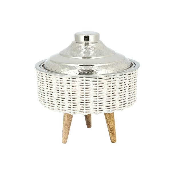 سلة من البامبو مع وعاء تقديم بغطاء لون ذهبي/حجم صغير image number 0