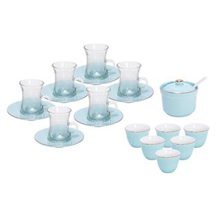 Tea And Coffee Set Of 20 Pieces Light Blue