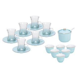 طقم شاي و قهوة عربي 20 قطعة لون أزرق فاتح