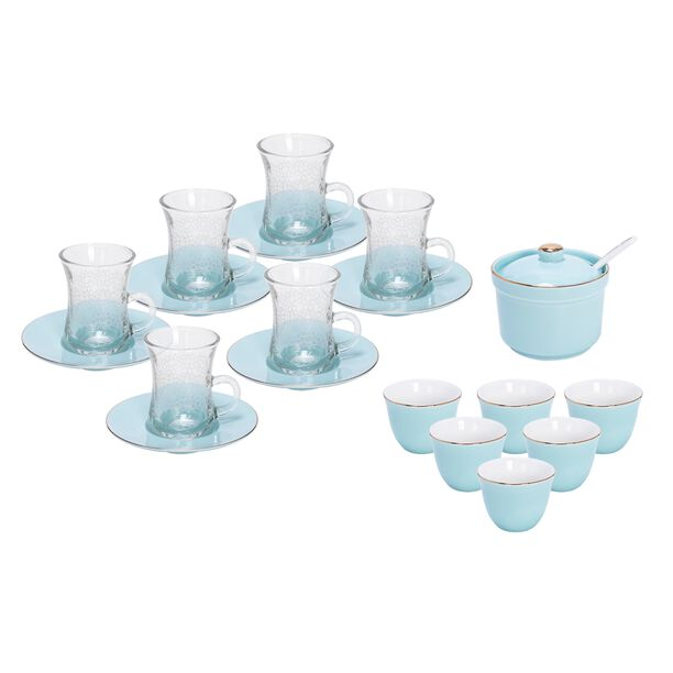 طقم شاي و قهوة عربي 20 قطعة لون أزرق فاتح image number 0