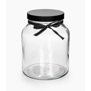 Alberto Glass Storage Jar With Metal Lid and Ribbon V-2150Ml