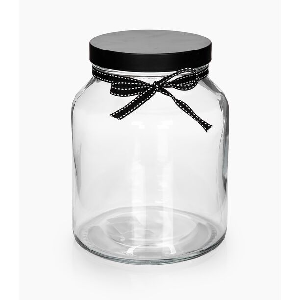 Alberto Glass Storage Jar With Metal Lid & Ribbon V:2150Ml image number 1