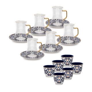 طقم شاي وقهوة عربي بورسلان 18 قطعة