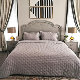 Cottage 3 Pieces Bedspread Pillow Cover Grey King 250X240 Cm