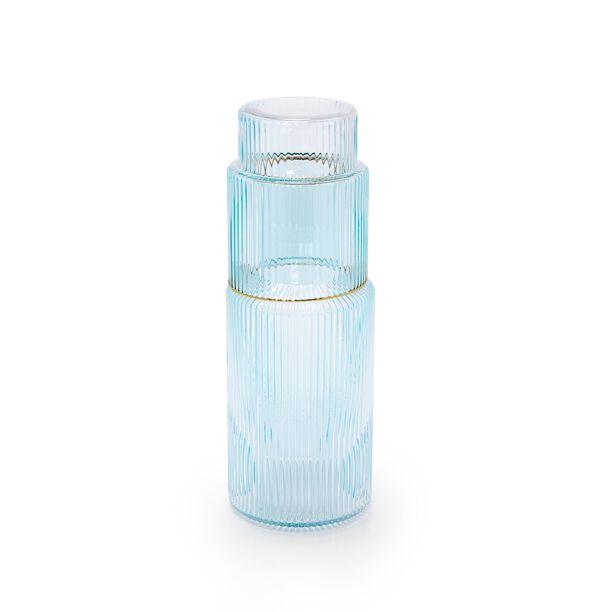 GLASS BEDSIDE WATER JUG AND TUMBLER LIGHT BLUE COLOR WITH GOLD RIM image number 0