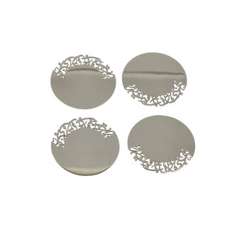 La Mesa 4Pc Steel Coasters Hanaa Silver 9Cm
